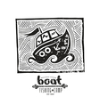 Linocut with a picture of boat vector image
