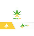 marijuana leaf and wifi logo combination vector image vector image