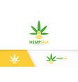 marijuana leaf and wifi logo combination vector image