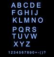 neon city color blue font english alphabet vector image