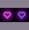 neon heart in purple and violet color vector image vector image