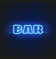 neon lamp bar banner on brick wall background las vector image vector image