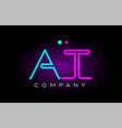 Neon lights alphabet at a t letter logo icon