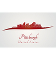 Pittsburgh skyline in red vector image vector image