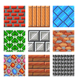 Pixel seamless textures for games icons set vector image