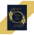 premium golden leaves wedding card design vector image