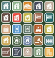 Real estate flat icons on green background vector image vector image