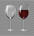 realistic big reds wine and empty glass vector image vector image