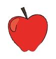 red apple taste fruit nature drawing vector image