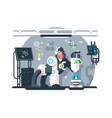 robot monkey scientist make laboratory experiment vector image
