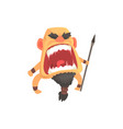 screaming warrior attacking with spear furious vector image vector image