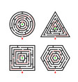 set labyrinth different shapes for game vector image