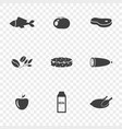 set of food icons on a transparent vector image