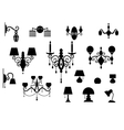 Sets of silhouette Lamp and Chandelier vector image vector image