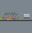 smart home infographics horizontal banner modern vector image
