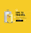 time to travel traveling luggage bag banner vector image vector image