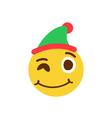 Winking smiley in a cap vector image vector image