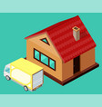 yellow delivery truck standing near house vector image
