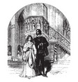 young couple near the ornate pulpit vintage vector image vector image