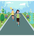 women running in the park with the forest as a vector image
