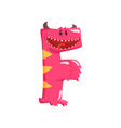 cartoon character monster letter f vector image