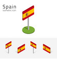kingdom of spain flag set of 3d isometric icons vector image