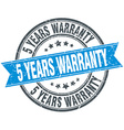 5 years warranty blue round grunge vintage ribbon vector image vector image