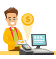 a white man paying at cashbox with his smartphone vector image vector image