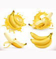 banana juice fresh fruit and splash 3d realistic vector image vector image