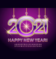 beautiful card happy new year 2021 alphabet set vector image vector image