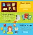 books reading banner horizontal set flat style vector image vector image