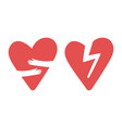 broken and hugging hearts icons love vector image