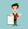 businessman hands holding clipboard checklist in a vector image