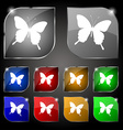 butterfly icon sign Set of ten colorful buttons vector image
