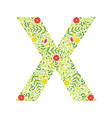 capital letter x green floral alphabet element vector image
