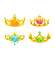cartoon golden princess crowns set vector image