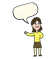 cartoon woman gesturing to show something with vector image
