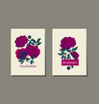 classic purple peony sketch vector image vector image