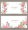 collection invitation cards with blossom of roses vector image vector image