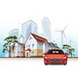 cottages and skyscrapers wind power plant vector image