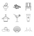 cream for body icons set outline style vector image vector image