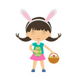 cute laughing girl with bunny ears vector image