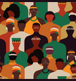 diverse black africa people crowd seamless pattern vector image vector image