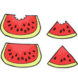 doodle watermelon slices vector image vector image