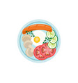 english breakfast plate flat style top view vector image