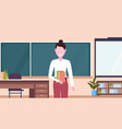 female teacher standing in front of chalk board vector image