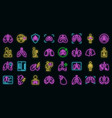 fluorography icons set neon vector image vector image