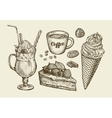 Food dessert drink Hand drawn ice cream sundae vector image
