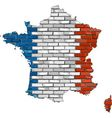 France map on a brick wall vector image vector image