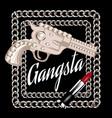 gangsta hand drawn gun with vector image